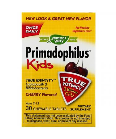 Nature's Way Primadophilus Kids Cherry Flavored 3 Billion CFU 30 Chewable Tablets