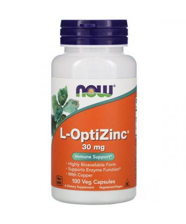 Now Foods L-OptiZinc 30 mg 100 Veg Capsules