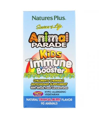 Nature's Plus Source of Life Animal Parade Kids Immune Booster Natural Tropical Berry Flavor 90 Animals