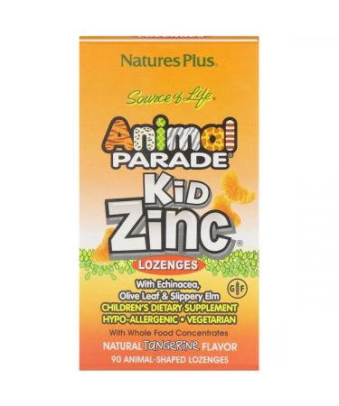 Nature's Plus Source of Life Animal Parade Kid Zinc Lozenges Natural Tangerine Flavor 90 Animal-Shaped Lozenges