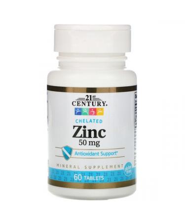 21st Century Zinc  Chelated 50 mg 60 Tablets