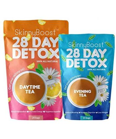 SkinnyBoost 28 Day Detox Kit Weight Loss - 1 Daytime Tea (28 Bags) 1 Evening Tea (14 Bags)