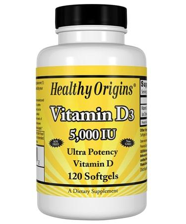 Healthy Origins Vitamin D3 - 5,000 IU - 120 Softgels