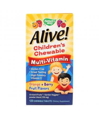 Nature's Way Alive Children's Multi-Vitamin Chewable Natural Orange and Berry - 120 Chewable Tablets