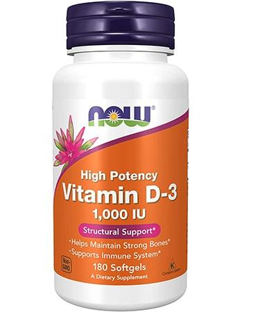 Now Foods Vitamin D-3 High Potency 1000 IU 180 Softgels