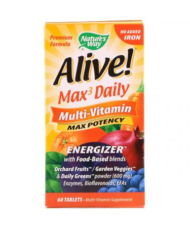 Nature's Way Alive! Max3 Daily Multi-Vitamin No Added Iron 60 Tablets