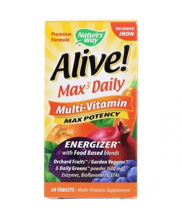 Nature's Way Alive! Max3 Daily Multi-Vitamin No Added Iron 30 Tablets