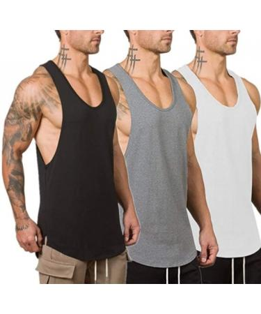 Muscle Killer Men's Muscle Gym Workout Stringer Tank Tops Bodybuilding Fitness T-Shirts ( 3 Pack  )