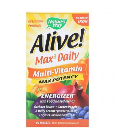 Nature's Way Alive! Max3 Daily Multi-Vitamin No Added Iron 90 Tablets