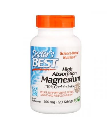 Doctor's Best High Absorption Magnesium 100% Chelated with Albion Minerals 100 mg 120 Tablets