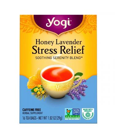 Yogi Tea Organic Honey Lavender Stress Relief Caffeine Free 16 Tea Bags 1.02 oz (29 g)