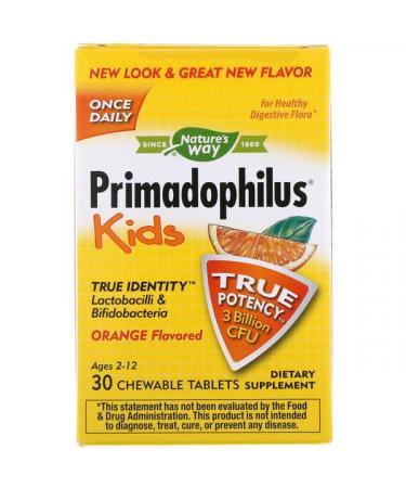 Nature's Way Primadophilus Kids Orange Flavored 3 Billion CFU 30 Chewable Tablets