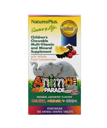 Nature's Plus Animal Parade Children's Chewable Multi-Vitamin and Mineral Assorted Flavors 180 Animal-Shaped Tablets