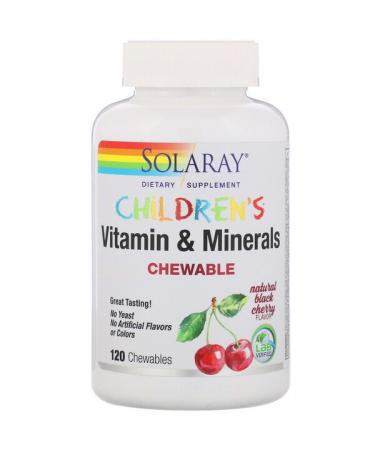 Solaray Children's Chewable Vitamin and Minerals Natural Black Cherry Flavor 120 Chewables