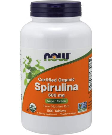 Now Foods Certified Organic Spirulina 500 mg 500 Tablets