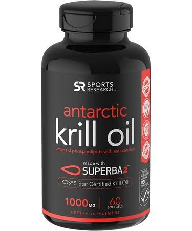 Sports Research Antarctic Krill Oil with Astaxanthin 1000 mg 60 Softgels