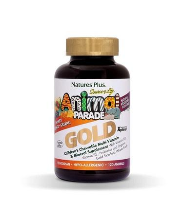 Nature's Plus Source of Life Animal Parade Gold Children's Chewable Multi-Vitamin & Mineral 120 Animal-Shaped Tablets