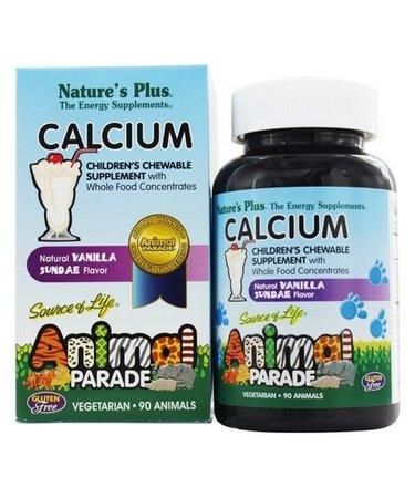 Nature's Plus Source of Life Animal Parade Calcium Children's Chewable Supplement Natural Vanilla Sundae Flavor 90 Animal-Shaped Tablets