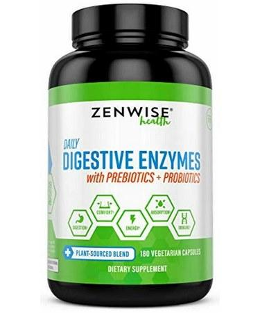 Zenwise Health Daily Digestive Enzymes with Prebiotics -180 Capsules