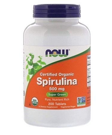 Now Foods Certified Organic Spirulina 500 mg 200 Tablets