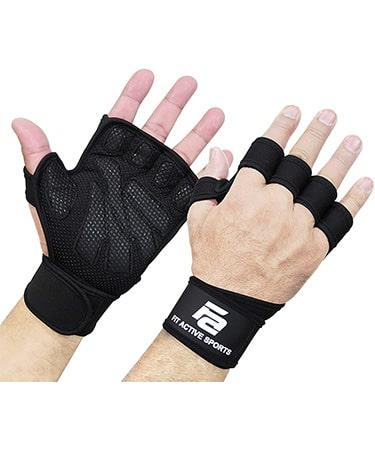 Fit Active Sports New Ventilated Weight Lifting Gloves with Built-In Wrist Wraps Unisex