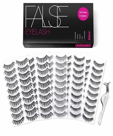 Eliace Eyelashes Set Professional Fake Eyelashes Pack - 50 Pairs - 5 Styles Lashes