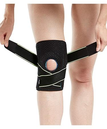 Knee Brace with Side Stabilizers & Patella Gel Pads for Knee Support - Black
