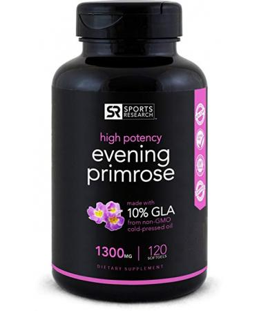 Sports Research Evening Primrose Oil Healthy Skin - (1300mg) 120 Liquid Softgels